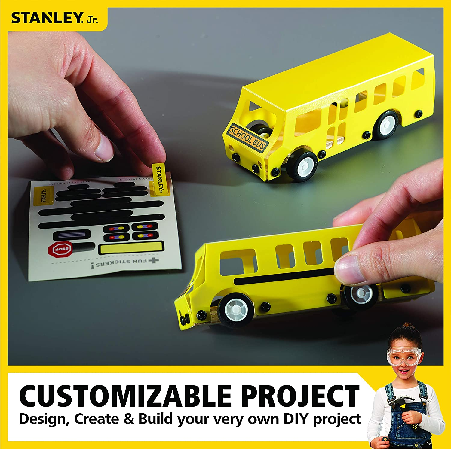 Stanley Jr DIY Assemble Toy Learning Engineering for Kids Yellow School Bus Toy Wood Craft Small Kit