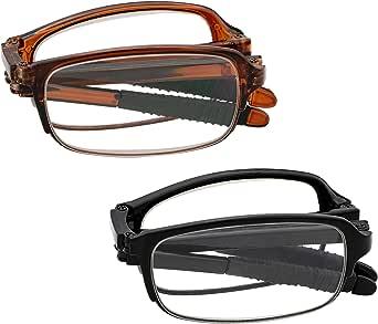 J&L Glasses 2 Pack Fashion Mini Pocket Folding Reading Presbyopic Glasses For Men Women