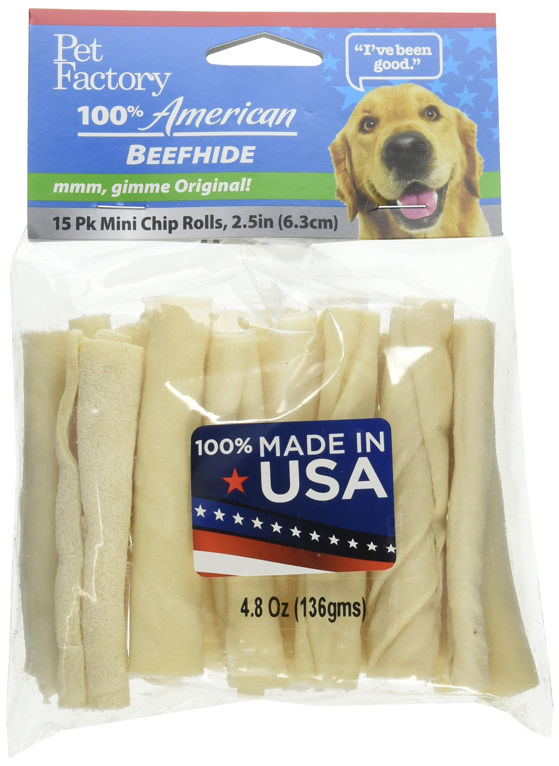 Pet Factory 74162 3-3 1/2'' Beefhide Mini Rolls. Made in USA