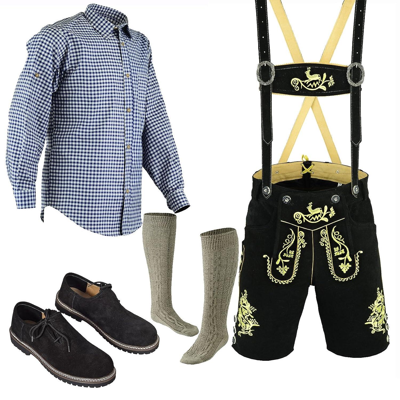 Herren Trachten Lederhose Kurz+Träger Größe 46-60 Trachten Set 5 Teilig Bayerische Trachtenlederhose,Hemd,Schuhe,Socken Neu Artikel NrLe25