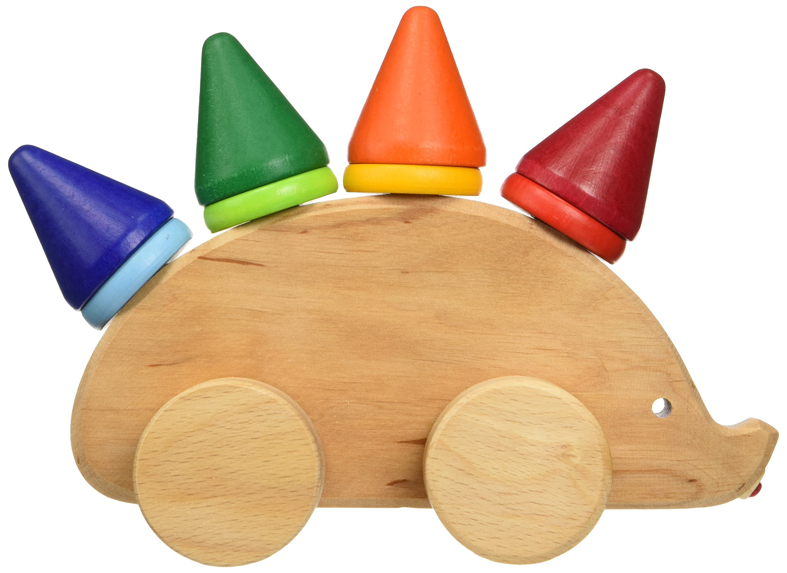 Grimm's Toddler Hedgehog - Natural Wood Pull Toy with 8 Colorful Cone & Disc Stackers