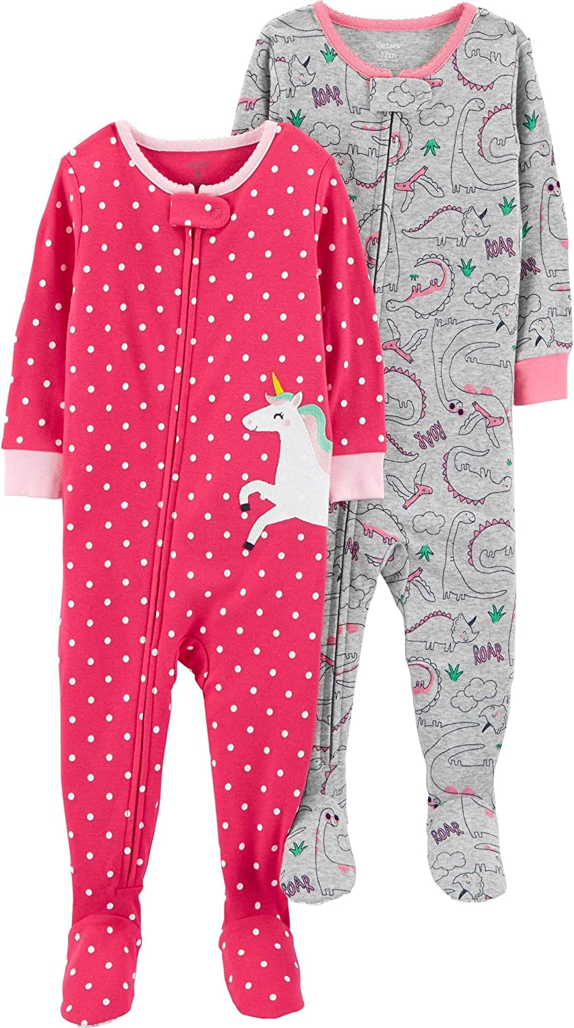 Carters Baby Girls 2-Pack Cotton Footed Pajamas
