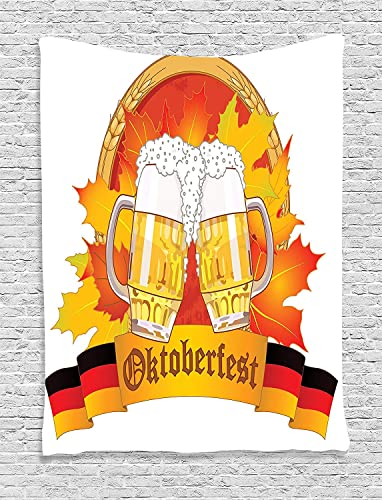 Ambesonne Oktoberfest Tapestry, Beer Glass Autumn Leaves Season Parties Cheers Joyful Illustration, Wall Hanging for Bedroom Living Room Dorm Decor, 60 X 80 , Yellow Red