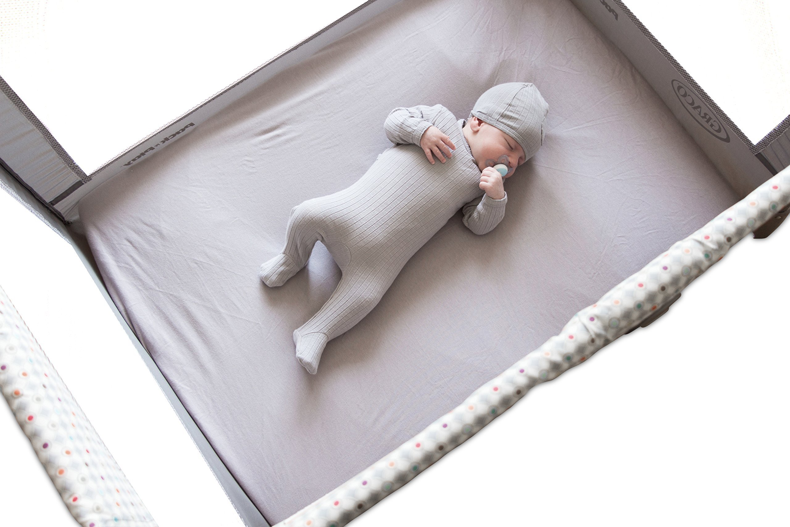 Organic Pack n Play Portable mini crib sheet 100% GOTS Certified Organic Dye Free Jersey Cotton Knit Natural Color for Baby Girl or Baby Boy by Ely's & Co. (Playard, Grey)