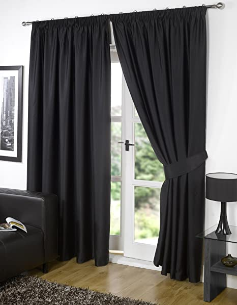 Viceroybedding Pair Of BLACK 46quot Width X 54quot Drop Supersoft Thermal BLACKOUT Curtains