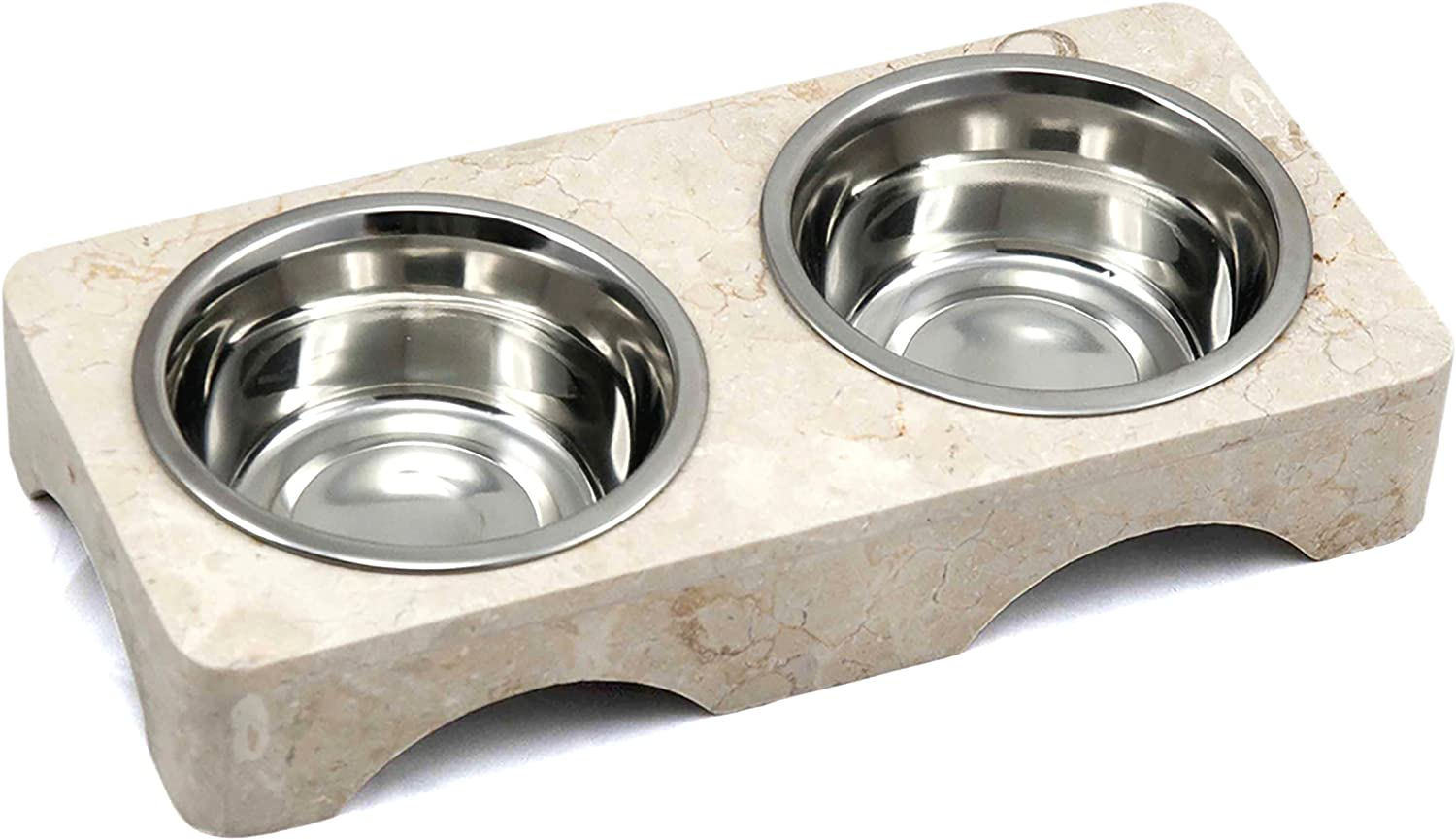 Creative Home Natural Champagne Marble Double Diner Pet Food and Water Feeding Set with 1.0 Pint Removable Stainless Steel Bowls, Beige