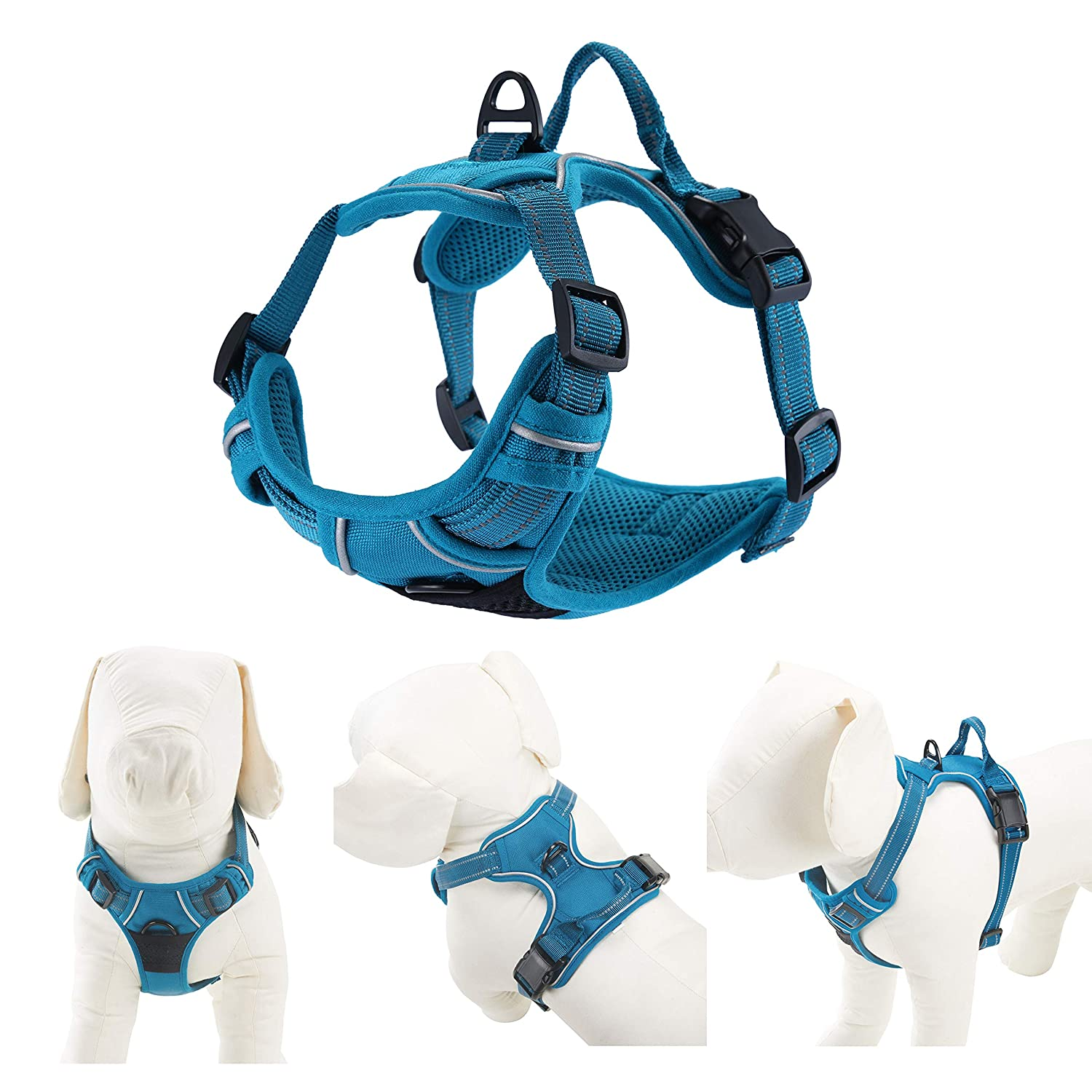 Louvra Dog Harness 3M Reflective No Pull Dog Harness with Handle Adjustable Heavy Duty Chest and Back D Rings Pet Vest Harness for Big Large Dog Running Walking Blue,L