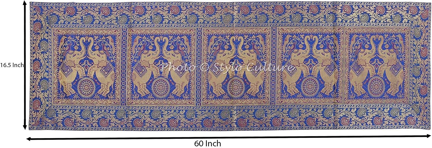 60x16 Inches 152 x 40 cm Stylo Culture Traditional Center Table Runner For Coffee Table Dark Blue Brocade Jacquard /& Satin Bohemian Elephant Floral Extra Long Indian Table Decor