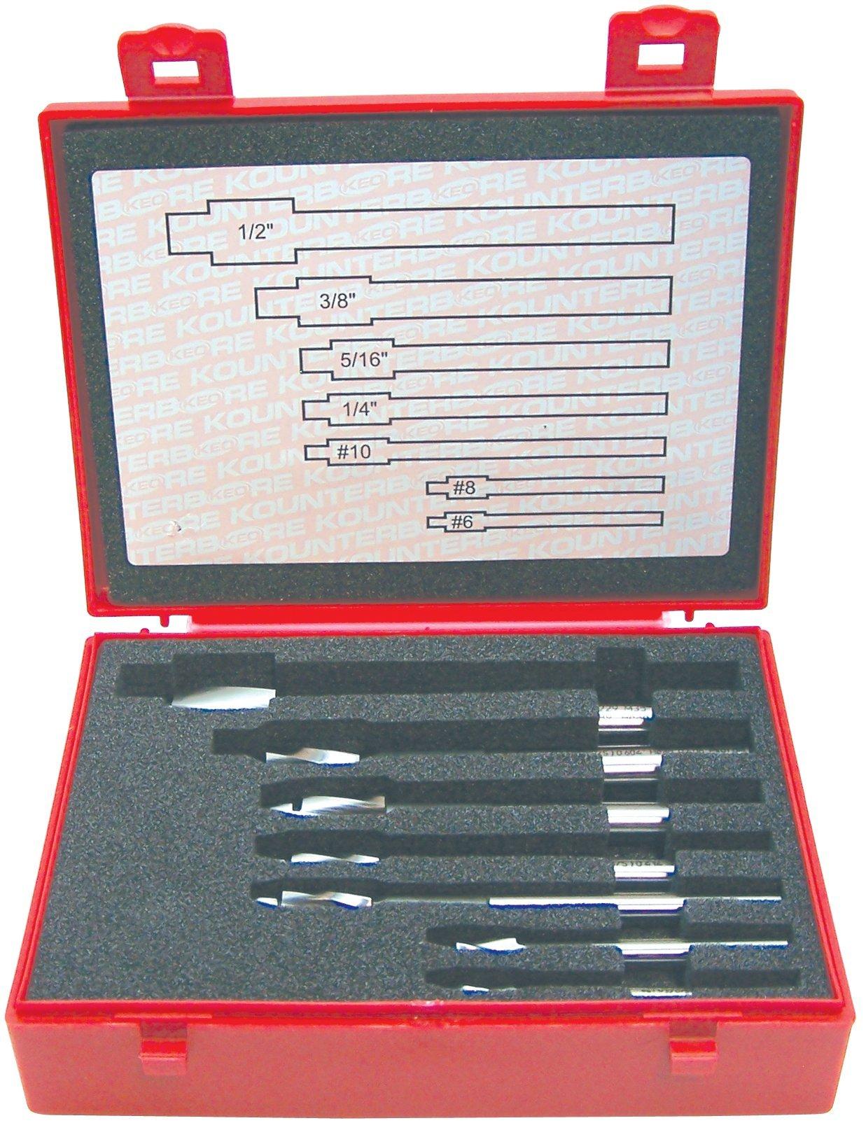 KEO 55239 Tool Precision Cap Screw Counterbore Set, Close Fit, #6 - #10 and 1/4'' - 1/2'' Sizes