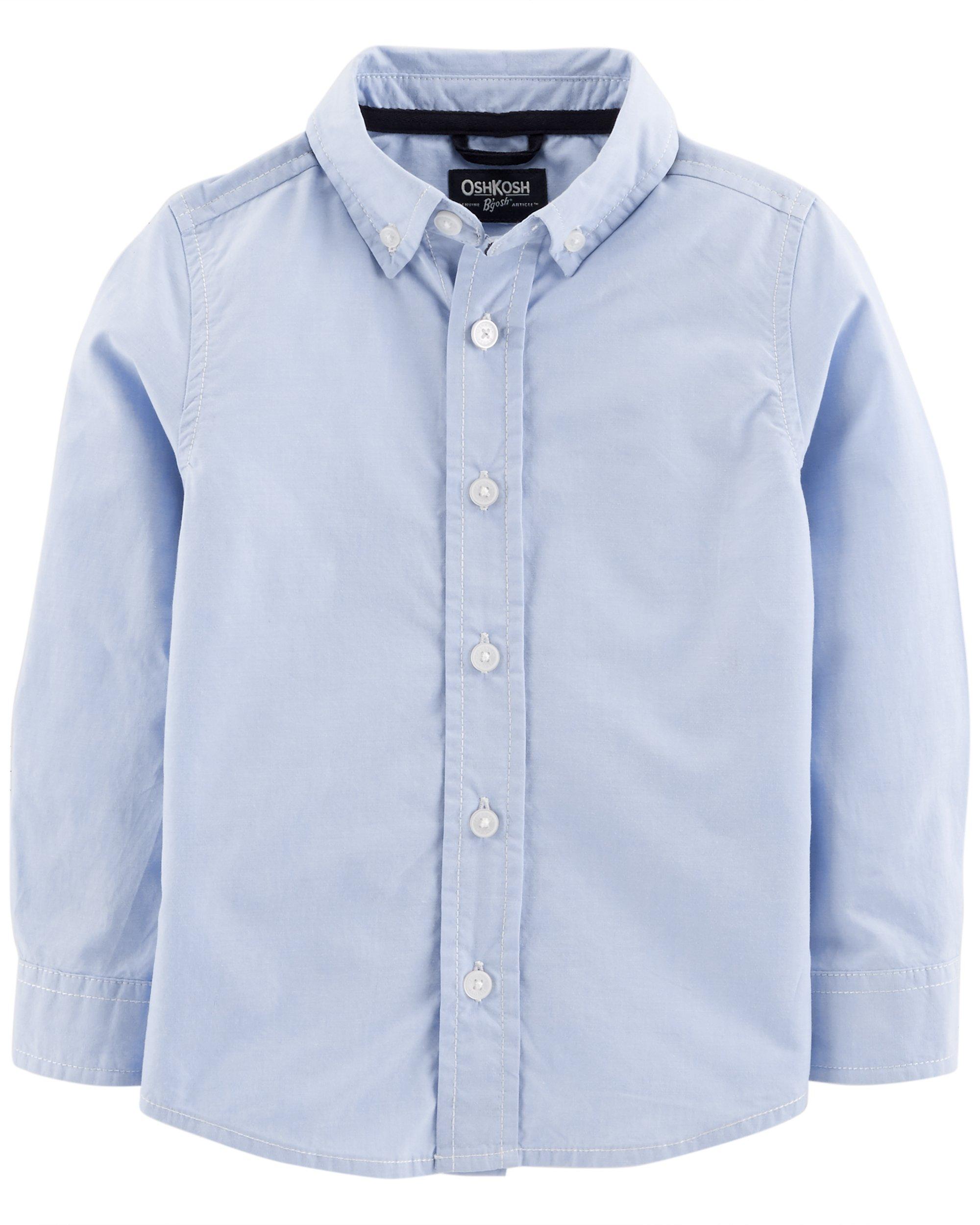 Osh Kosh Boys' Toddler Button-Front Shirt, Blue, 3T