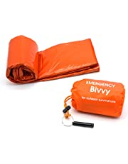 new Hope Emergency Sleeping Bag Survival Bivy Sack- Use as Emergency Space Blanket, Lightweight Sleeping Bag, Survival Gear for Outdoor, Hiking, Camping - Includes Nylon Sack with Survival Whistle