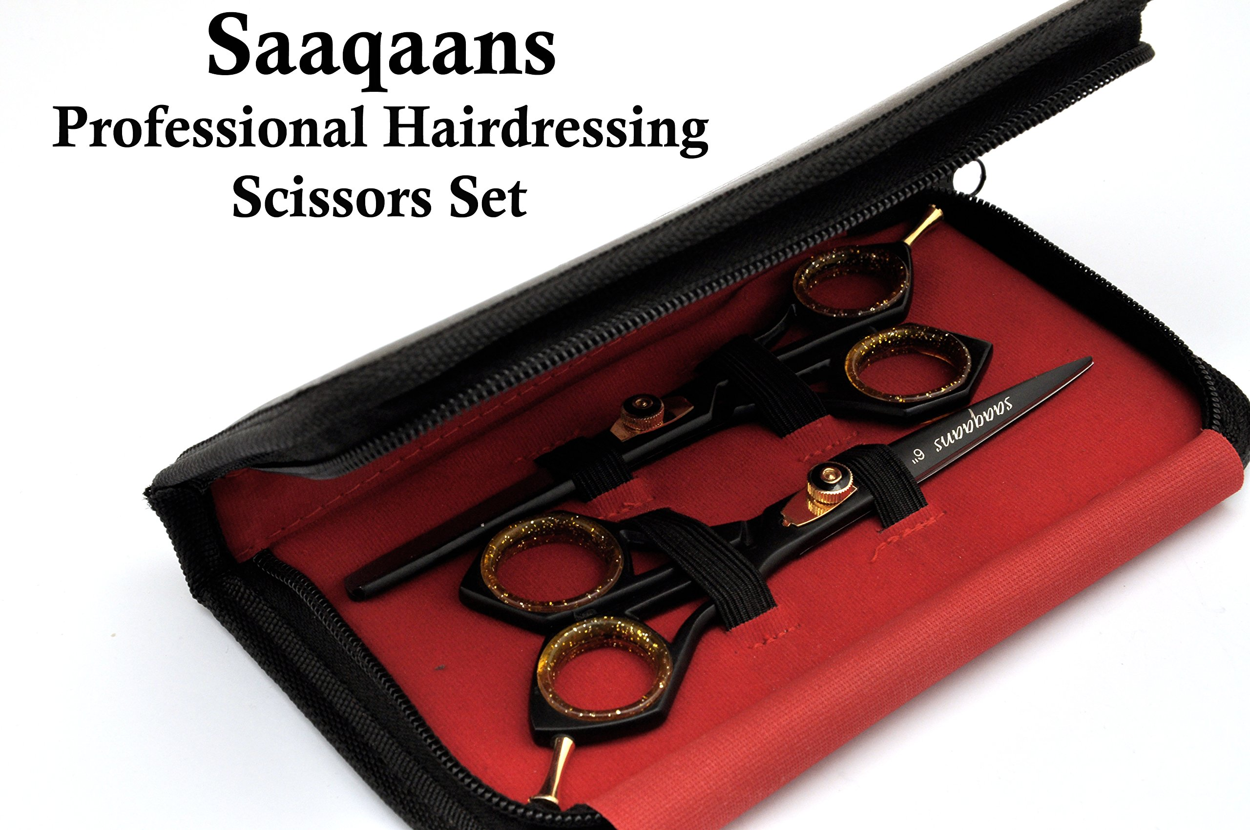 Saaqaans SQKIT Professional Hairdressing Scissors Set - Package includes Barber Scissor, Thinning Shear, Straight Razor, 10 x Derby Double Edge Blades and Hair Comb in Stylish Black Scissors Case by Saaqaans (Image #6)