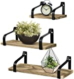 Greenco Set of 3 Rustic Wall Mounted Floating Shelves for Living, Dining Room, Office, Bedrooms, Brown