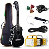 "Electric Concert Ukulele With Amp | 23"" Acoustic-Electric Ukulele Beginner Kit 