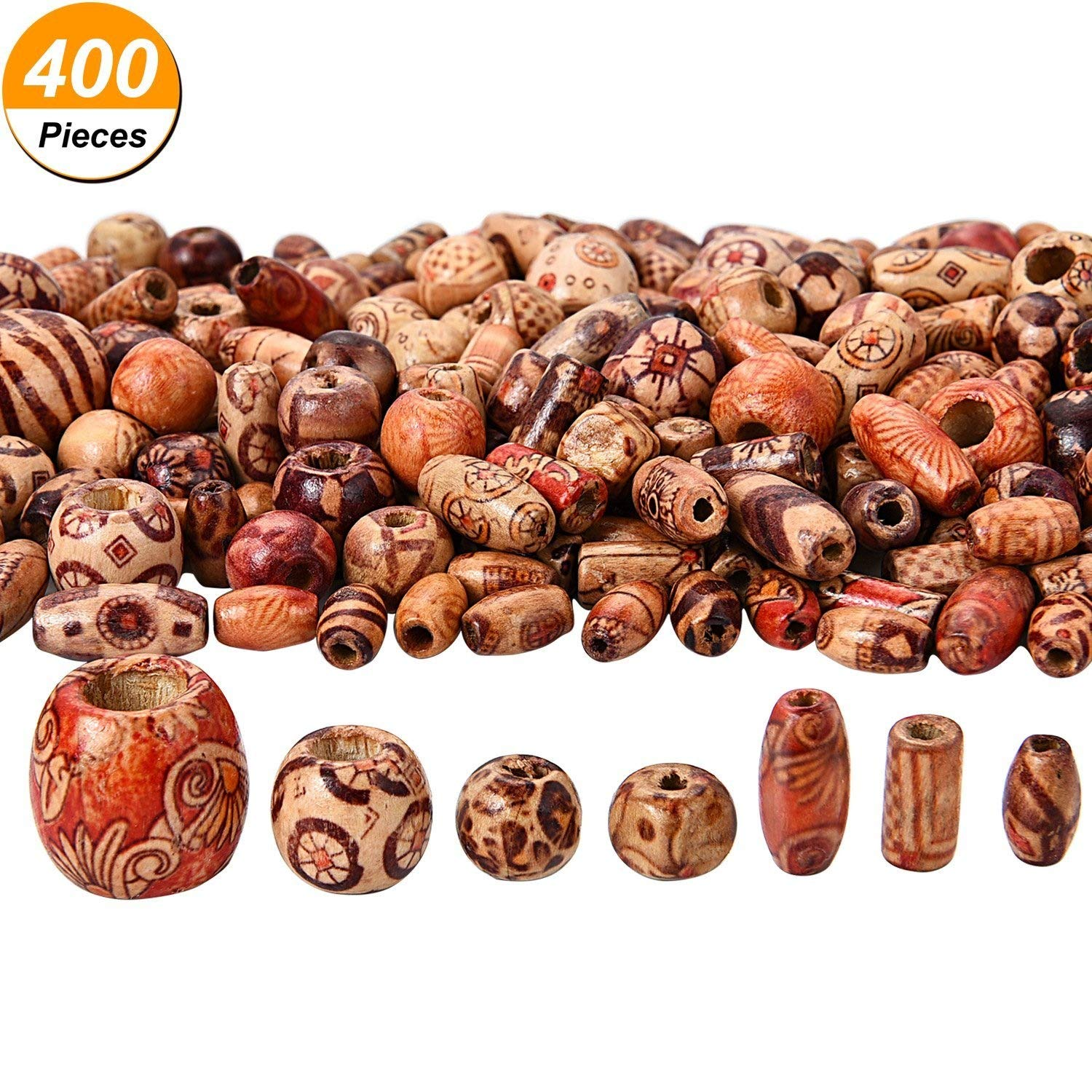 400 Pieces Printed Wooden Beads Various Shapes Loose Wood Beads for Jewelry Making DIY Bracelet Necklace Hair Crafts Bememo