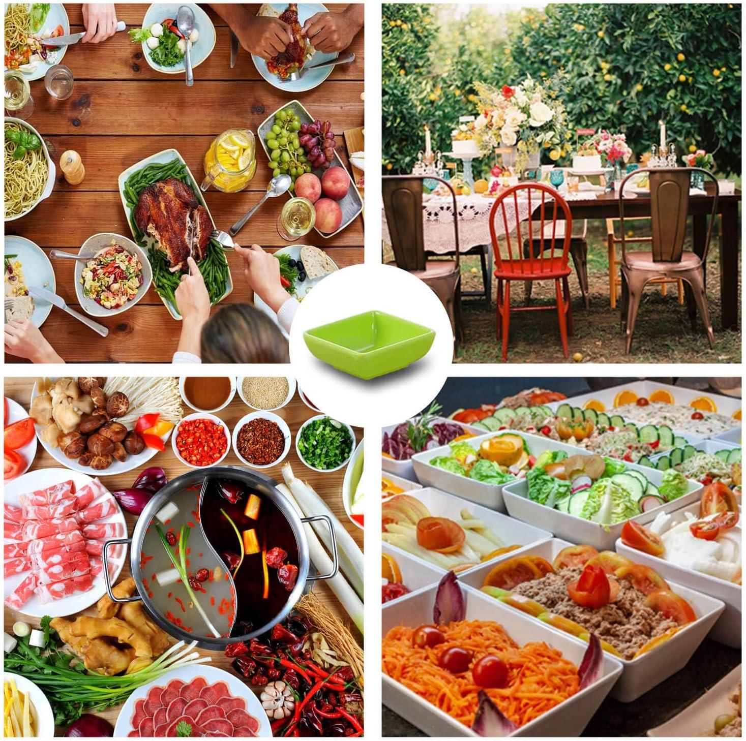 salse colore: Verde sinzau Ciotole per salse spezie quadrate contorni e snack 12 pezzi per salsa di soia
