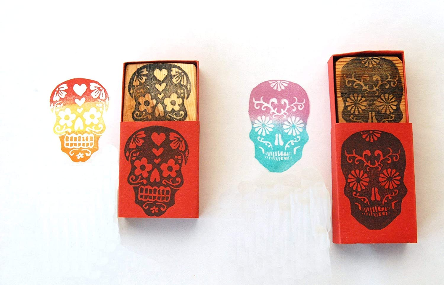Two Sugar Skull Love Birds - El Dia de los Muertos Hand carved rubber stamps