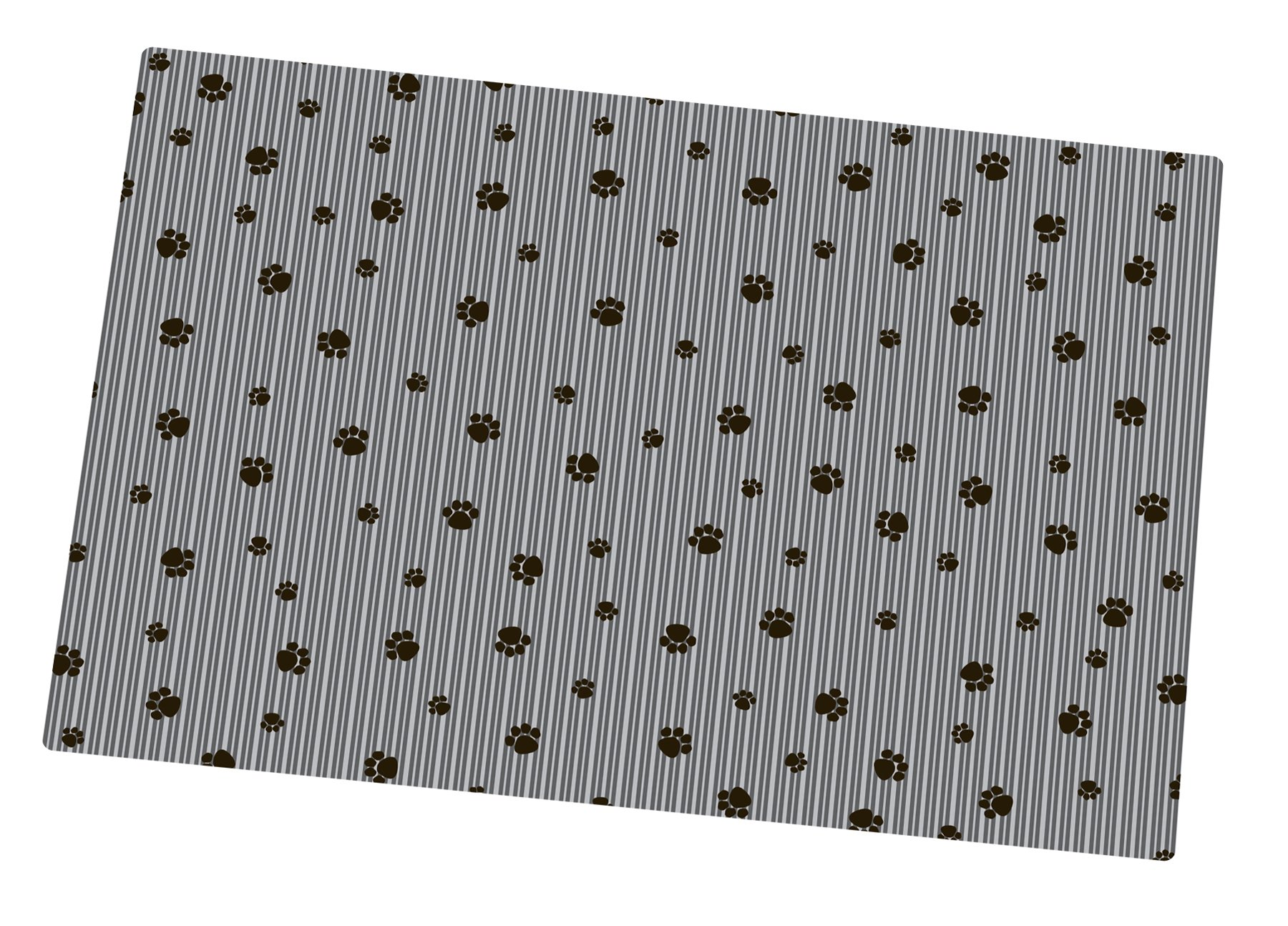 Drymate Litter Mat 20 inch x 28 inch Grey/Black Paw Striped Cat Litter Mat