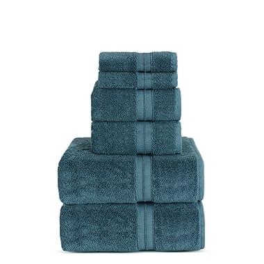 TURKUOISE TURKISH TOWEL Premium Turkish Cotton Double Border Towel Set - Eco Friendly,Bath Towels, Hand Towels, Wash Clothes (Double Border-True Blue, 6)