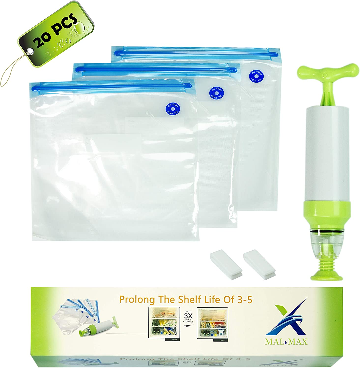 Vacuum Food Storage Bags Sous Vide Sealer Bag Hand Pump - BPA Free
