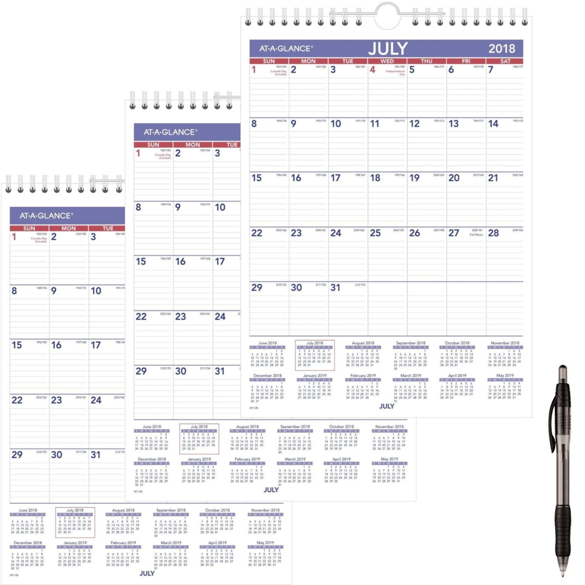 AT-A-GLANCE Academic Monthly Wall Calendar, July 2018 - June 2019, 8'' x 11'', Wirebound (AY128) 3 Pack - Bundle Includes Black Ballpoint Pen