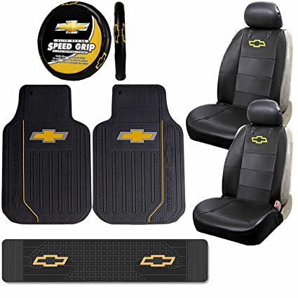 Fantastic Amazon Com U A A Inc 8Pc Chevy Elite Black Seat Covers Caraccident5 Cool Chair Designs And Ideas Caraccident5Info