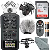 Zoom H6 Portable Recorder with Interchangeable Mic System Bundle Deluxe W/ Remote+Shockmount+Windscreen+16 GB +FiberTique Cloth and More