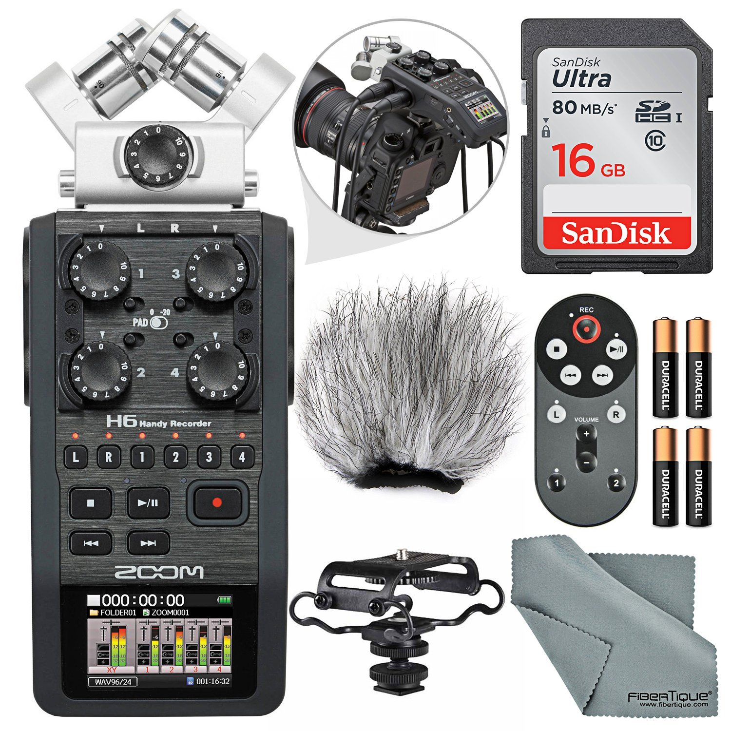 Zoom H6 Portable Recorder with Interchangeable Mic System Bundle Deluxe W/Remote+Shockmount+Windscreen+16 GB +FiberTique Cloth and More