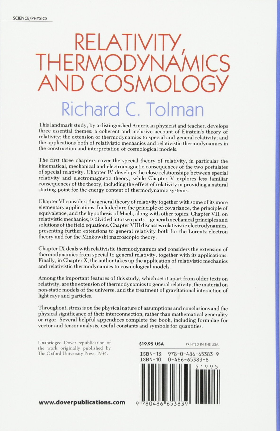 Relativity, Thermodynamics and Cosmology (Dover Books on Physics): Richard  C. Tolman: 0800759653836: Amazon.com: Books