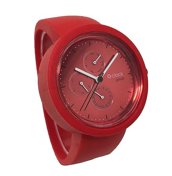 O clock Great correa rojo + Mecanismo o Great Fecha Soleil Amaranto L rojo: Amazon.es: Relojes
