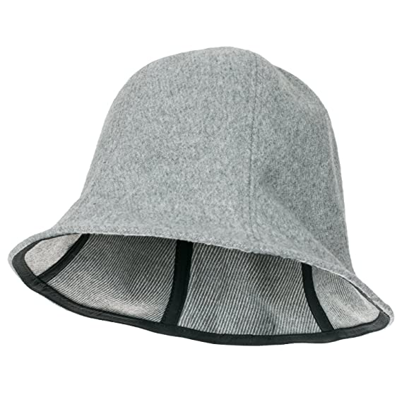 f390ccebdbd ililily Wool-Blend Solid Color Floppy Round Top Fedora Soft Bucket ...