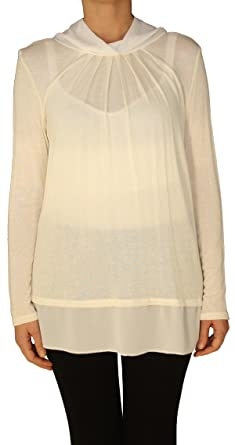 ea8d54d2afdd1b 13317 PERANO Damen Pullover Strick Tunika Farbe Weiß Konfektionsgröße 36 38  40 Internationale Größe S M L Unigröße