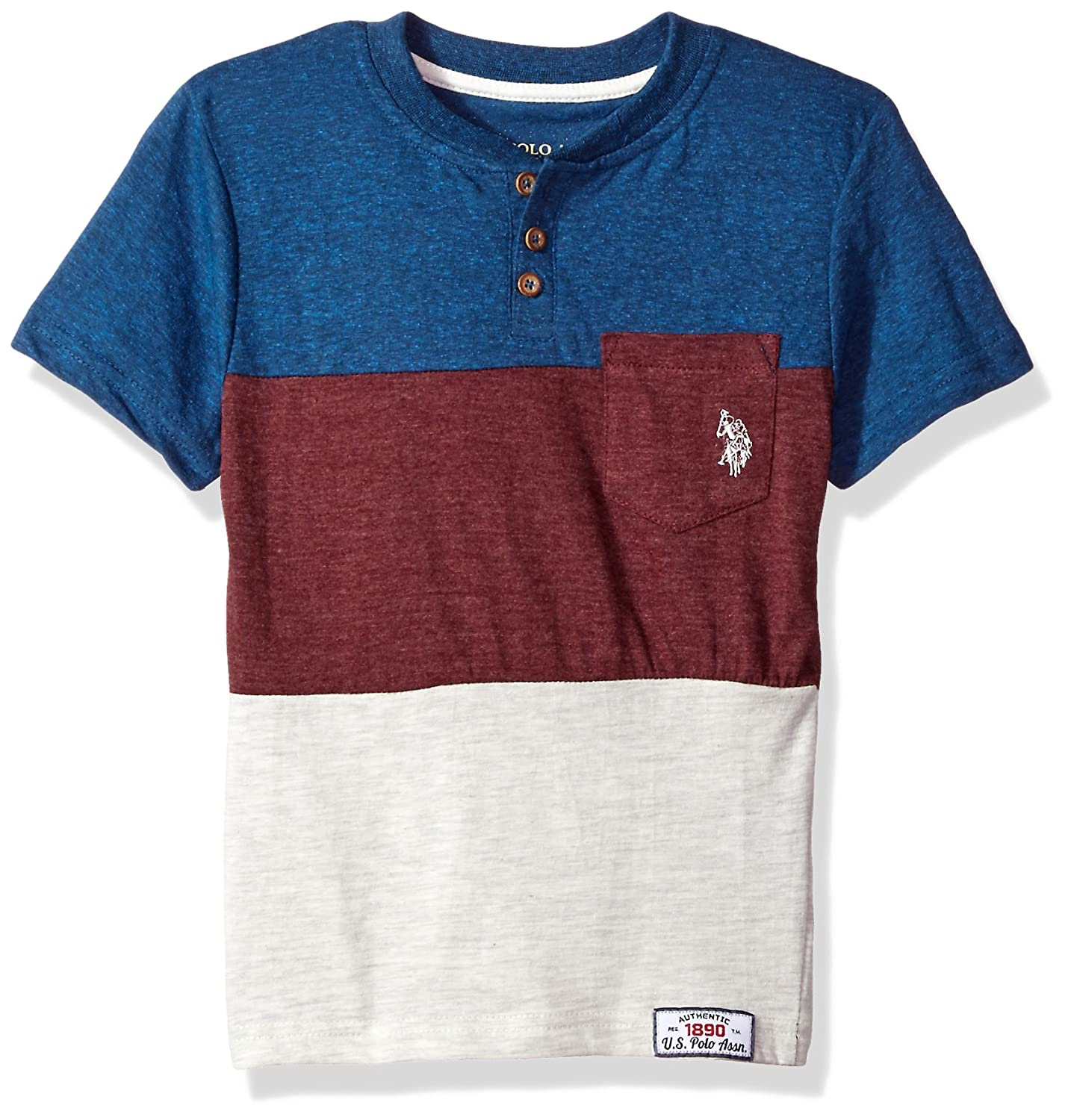 U.S. Polo Assn. Boys' Short Sleeve Color Block Henley T-Shirt