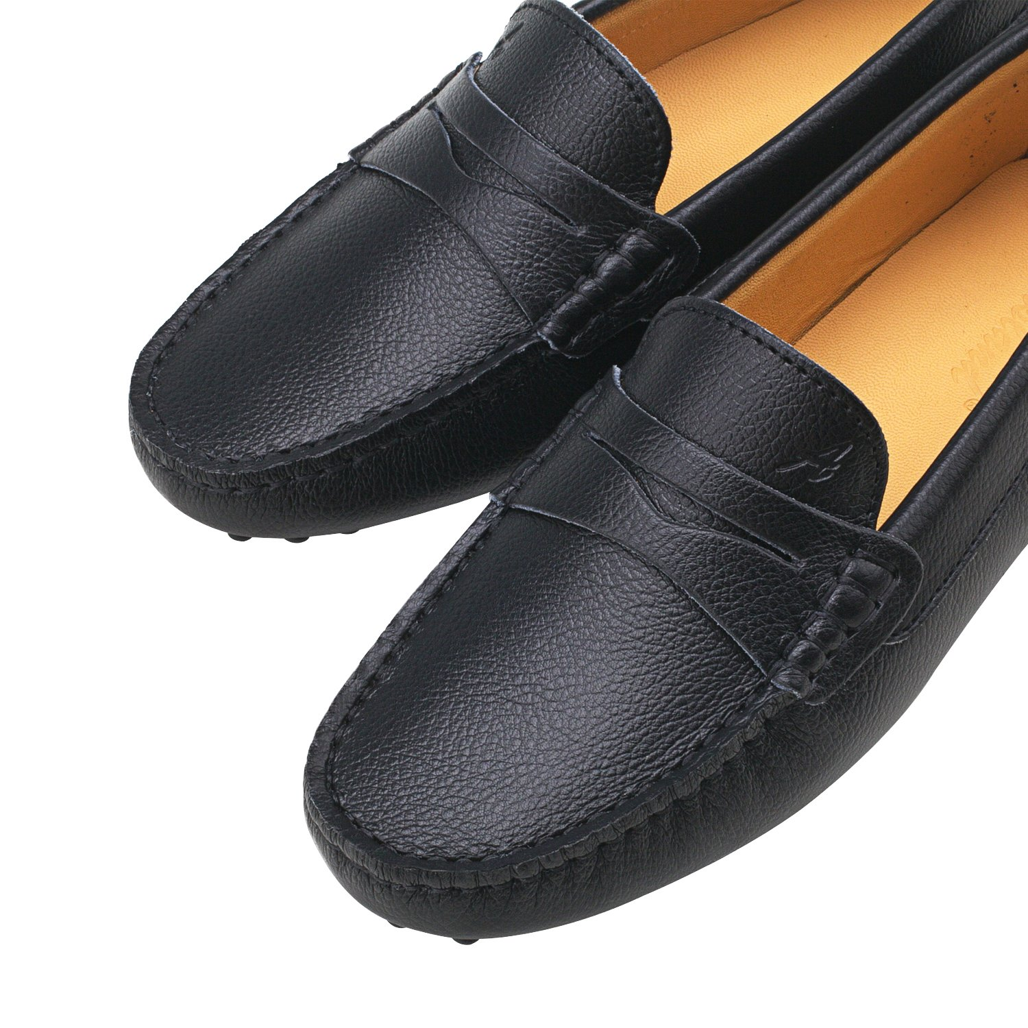 Shenduo Womens Loafer Flats Leather Moccasins Boat Shoes D7052