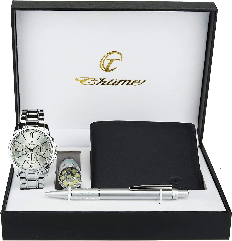 Caja de Regalo Reloj Hombre - Lámpara LED - Billetera -Bolígrafo: Amazon.es: Relojes