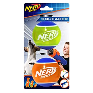 Nerf Dog Rubber Tennis Ball Dog Toys with Interactive Squeaker, Lightweight, Durable and Water Resistant, 2 Inches, for Small/Medium/Large Breeds, Two Pack, Mixed Colors, Squeak Tennis Ball