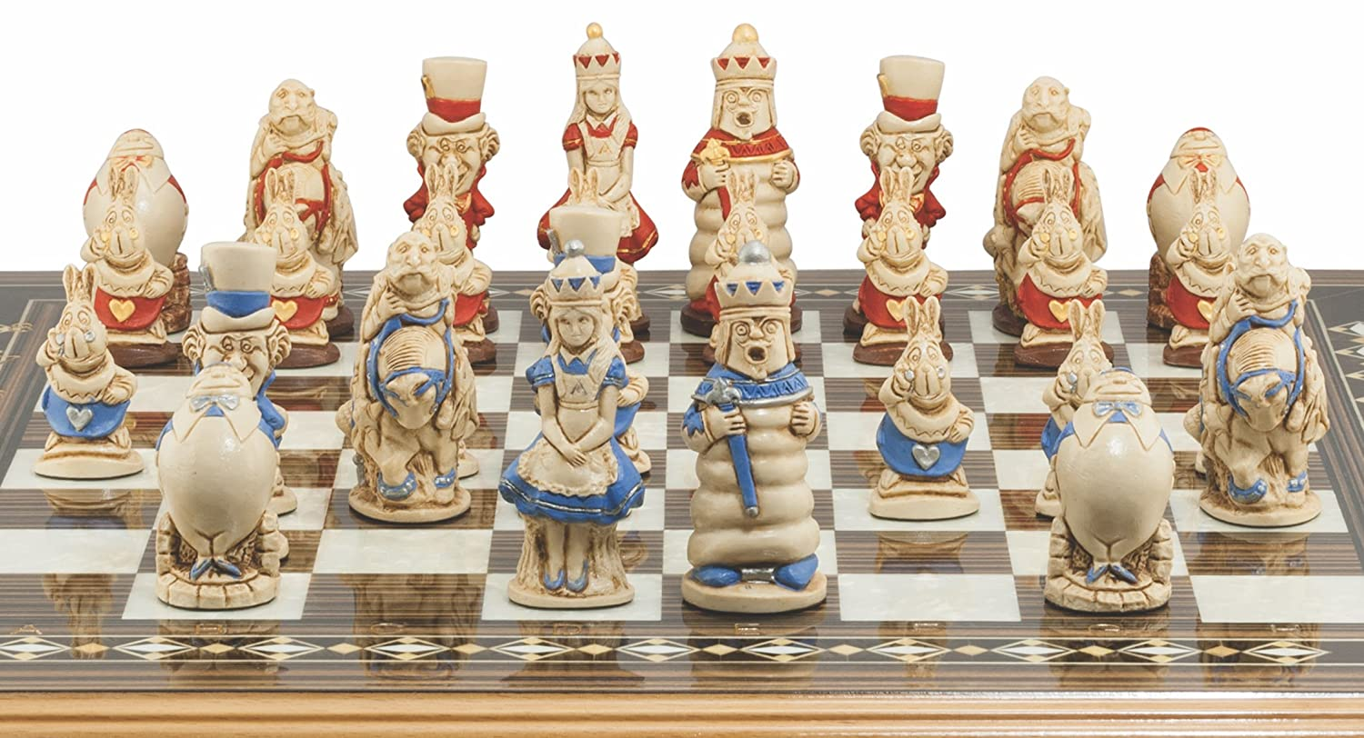 Amazon.com: Alice In Wonderland Chess Set   Handmade And Hand Painted   3.5  Inches: Toys U0026 Games