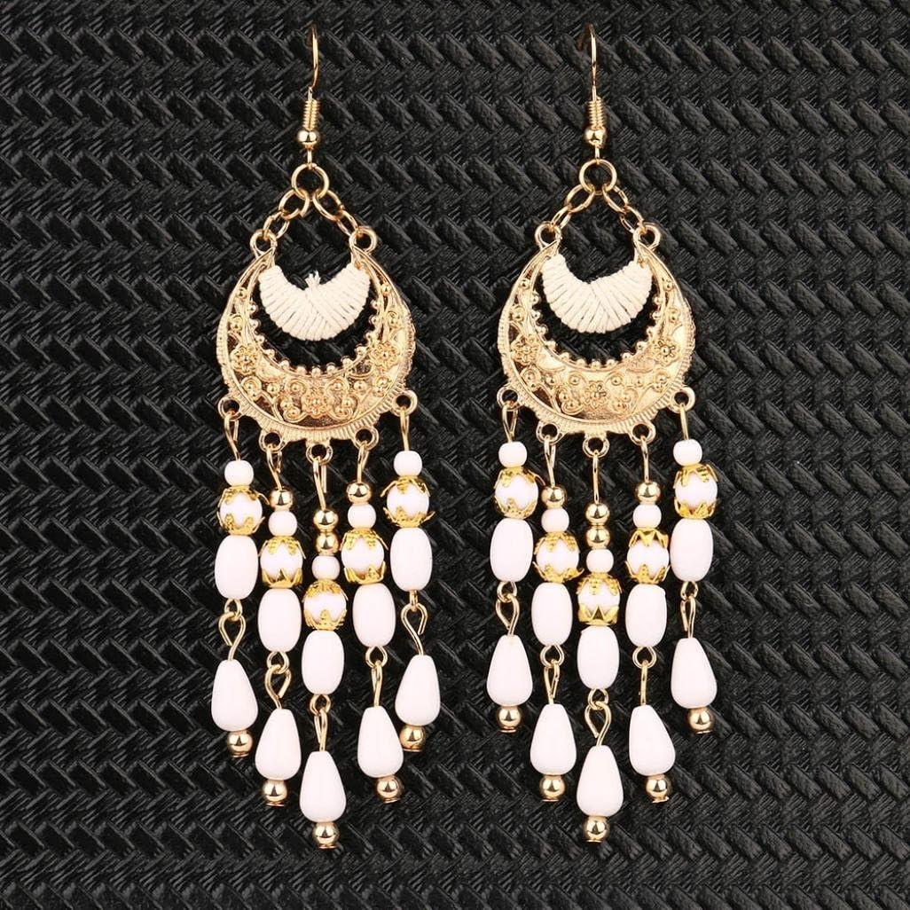 Womens Drop Dangle Earrings Iuhan Vintage Bohemian Boho Style Crescent Beads Tassel Dangle Earrings Red
