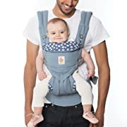 Ergobaby Omni 360 All-in-One Ergonomic Baby Carrier, All Carry Positions, Newborn to Toddler, Blue Daisies
