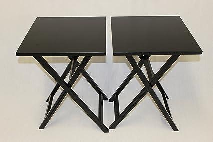 Merveilleux EHemco Ez Folding TV Tray Table Square Top   Hard Wood In Black Set Of 2