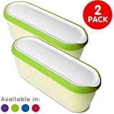 SUMO Ice Cream Containers: Insulated Ice Cream Tub for Homemade Ice-Cream, Gelato or Sorbet · Dishwasher Safe · 1.5 Quart Capacity · [Green, 2-Pack]