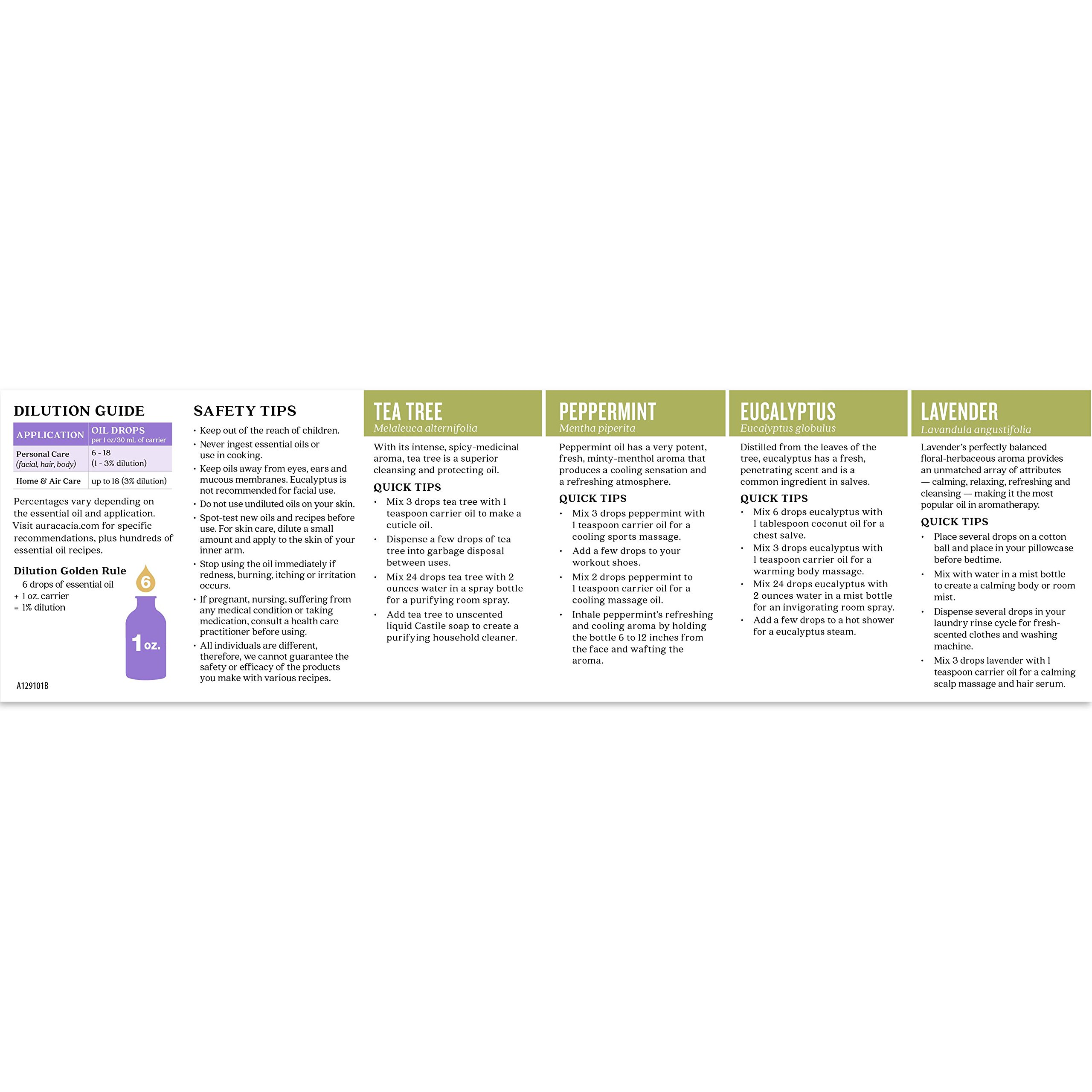 Aura Cacia - Discover Essential Oils Kit (Packaging May Vary) | .25oz each of Lavender, Peppermint, Tea Tree and Eucalyptus by Aura Cacia (Image #6)