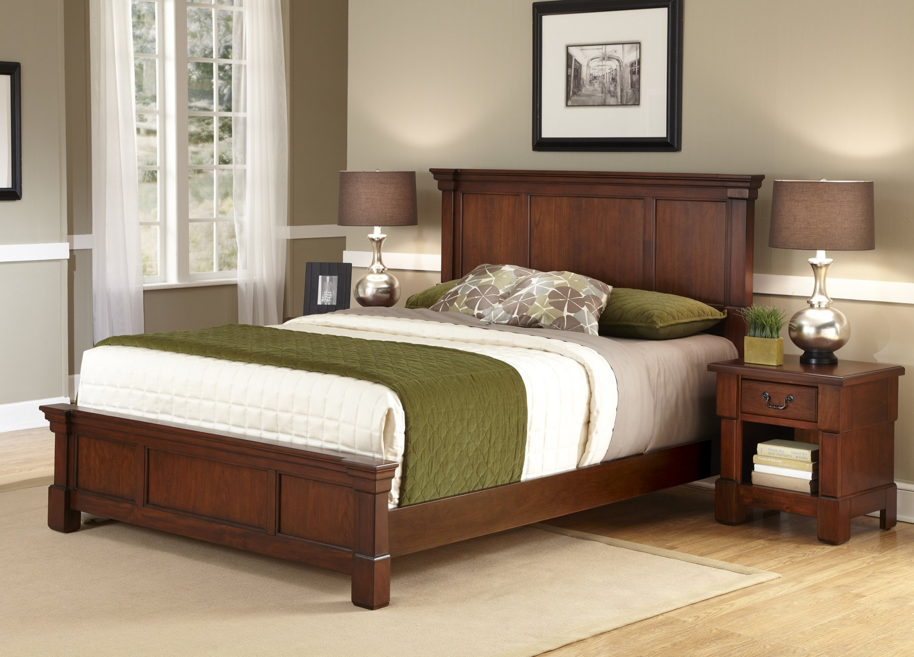 Aspen Rustic Cherry Queen Bed & Night Stand by Home Styles by Home Styles