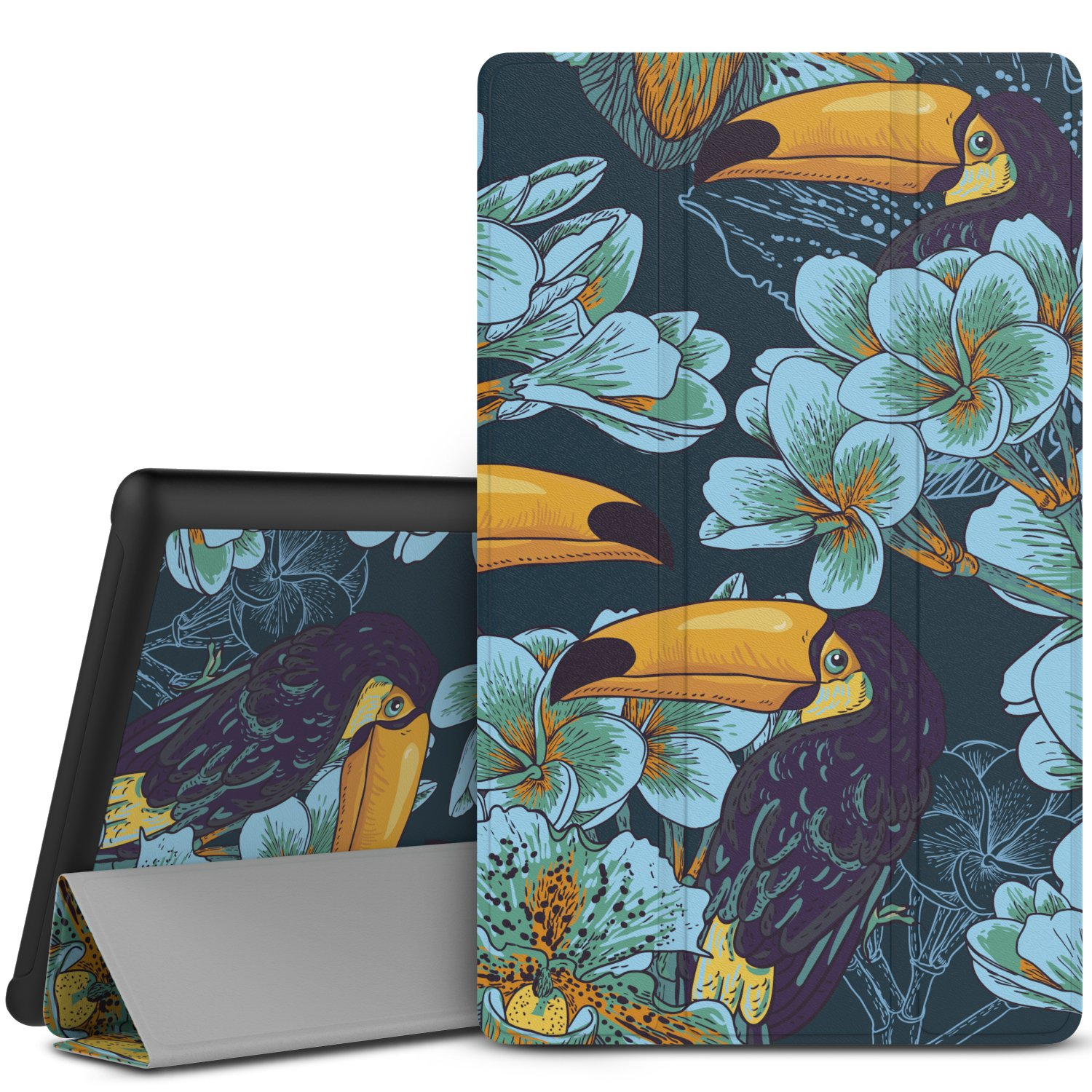 MoKo Case for Fire HD 10 Tablet (5th Generation, 2015 Release) - Slim Lightweight Shell Stand Cover with Auto Wake / Sleep for Amazon Fire HD 10.1 Inch Tablet, Toucan Bird