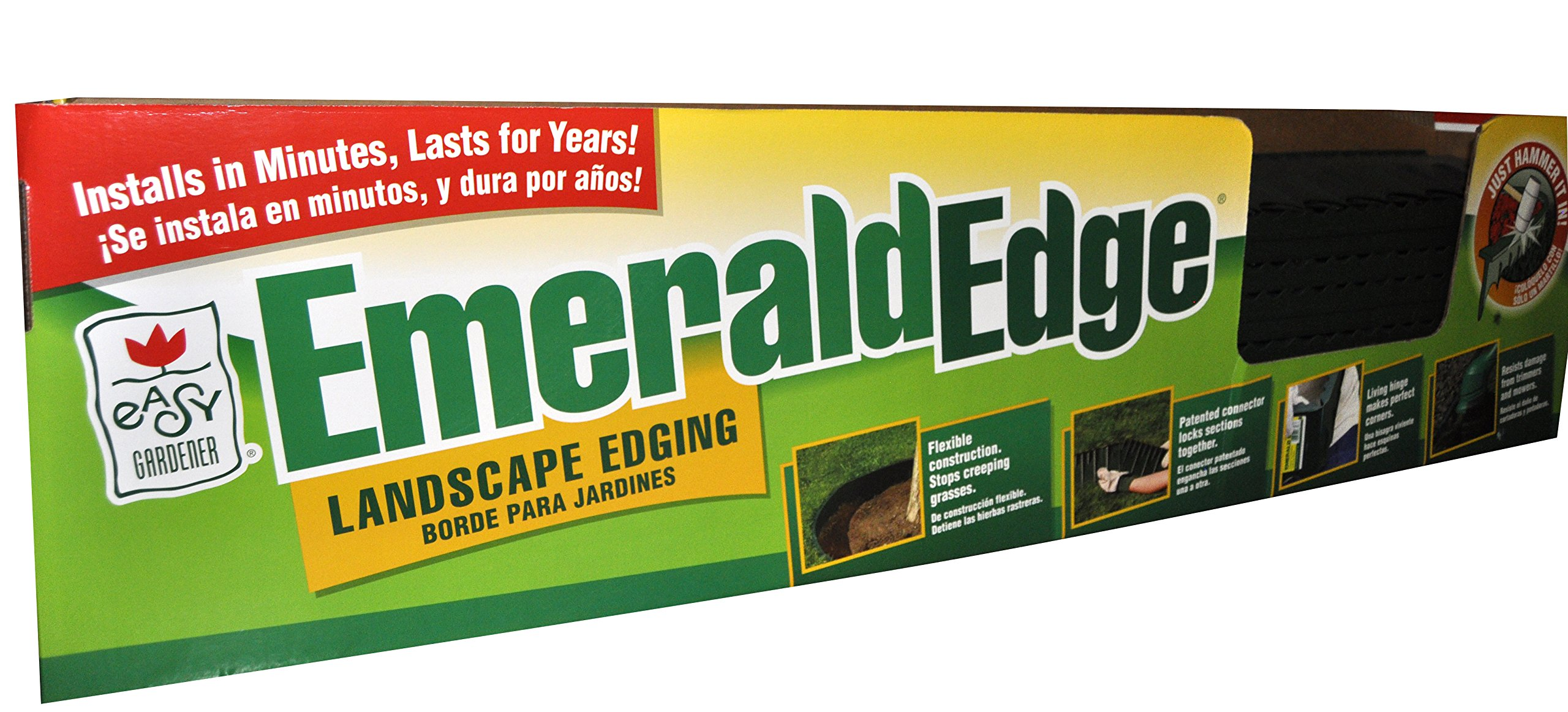 Emerald Edge Interlocking Landscape Border Edging (Pound-In, Easy Install) Green 4 feet x 5 inches, 24 Sections (96 Feet)