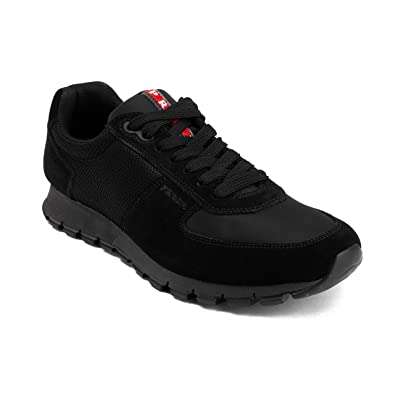 91aed62baf15ab Image Unavailable. Image not available for. Color: Prada Men's Suede Low-Top  Sneaker Shoes Black