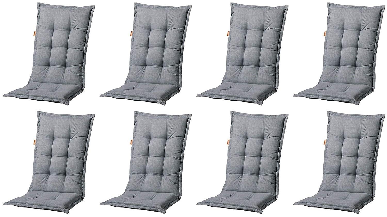Luxus Auflagen für Hochlehner in grau Sessel Gartenpolster Kissen Stuhlkissen