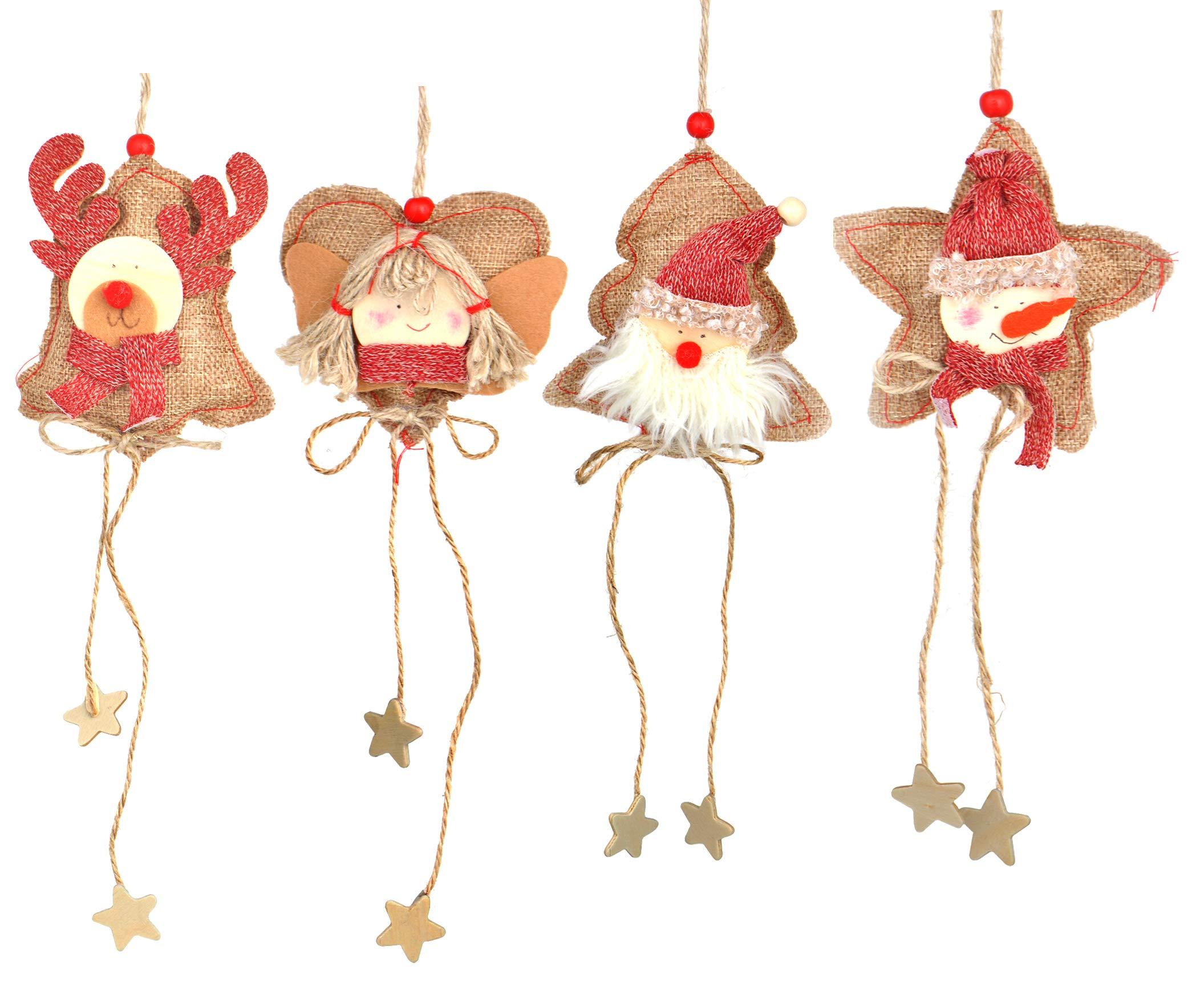 Love Wind Hanging Heart Christmas Home Decor 8pcs Rustic Burlap Moose/Snowman/Santa Claus/Bell