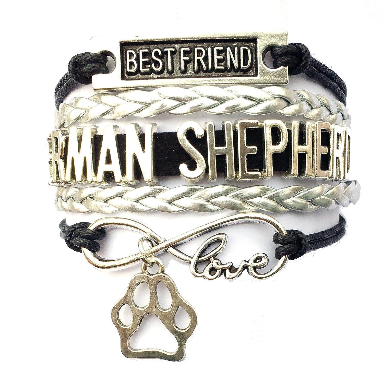 DOLON Braided German Shepherd Bracelet Best Friend Dog Paw Charm-3 Colors BRC3188-A