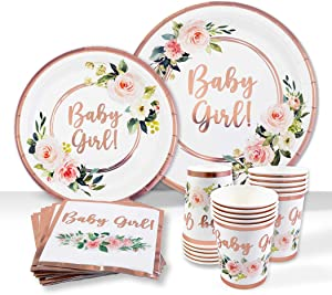 Baby Shower Tableware Plates and Napkins, Baby Girl Decorations | 25 Servings With Rose Gold Foil, Pink Floral Paper Plates, Napkins, Dessert Plate, Disposable Cups | Tea Party Supplies